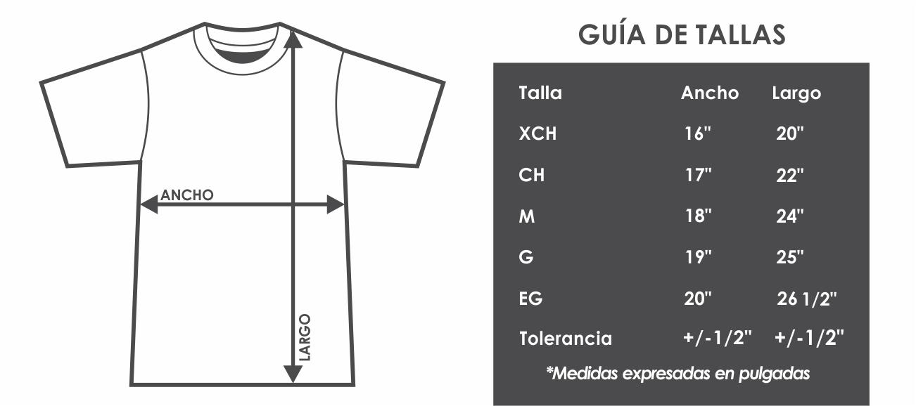 tabla de medidas tallas joven. Categoría  CUELLO REDONDO SERIE 300 f829978ea4481